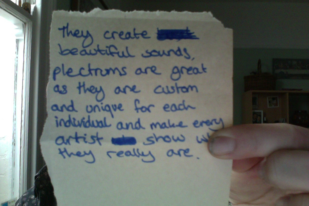 25 words about the greatness of plectrums.
