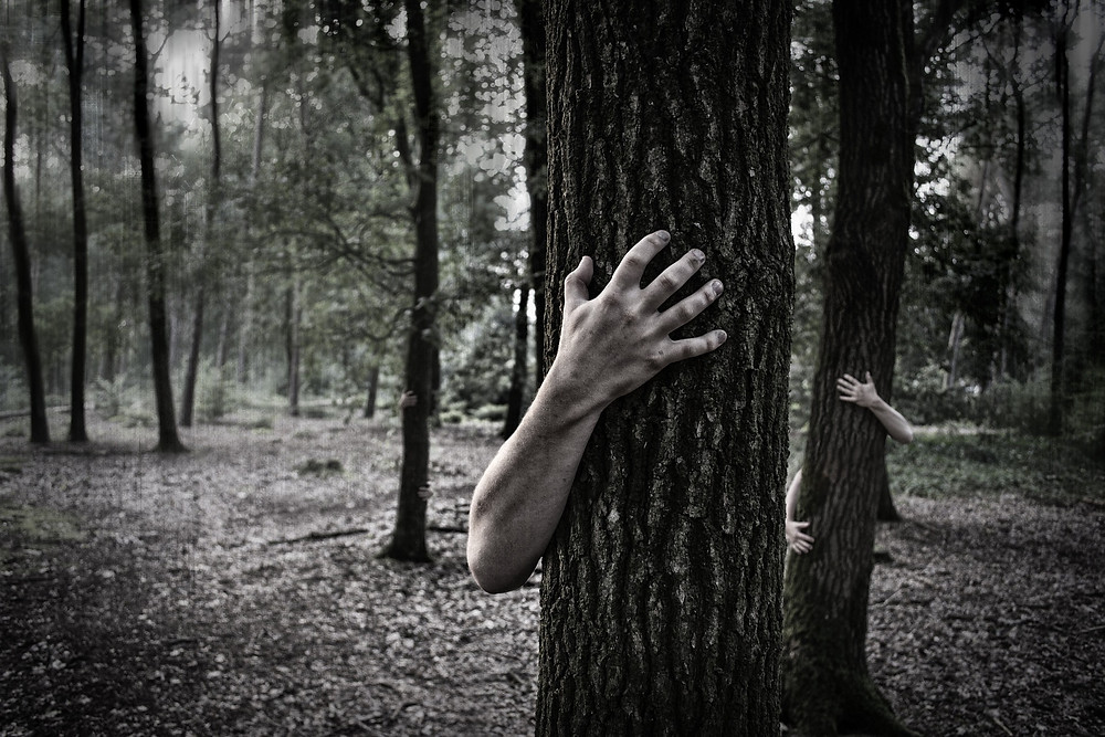 Zombie hiding behind a tree