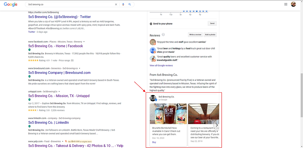 screen shot of google my business post