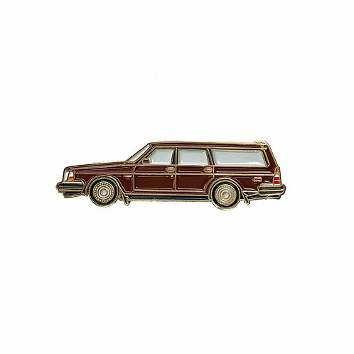 Volvo 240 Wagon Enamel Pin - Brown