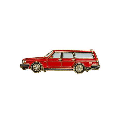 Volvo 240 Wagon Enamel Pin - Red