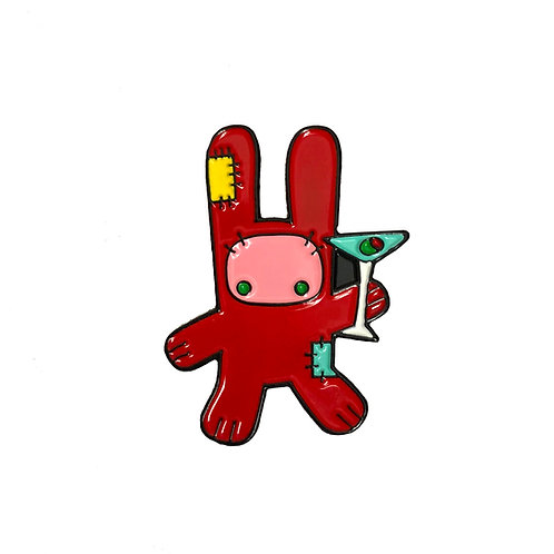 Red Martini Bunny enamel pin