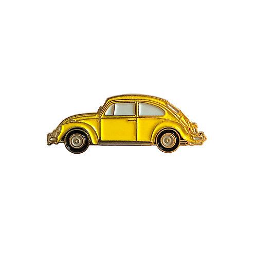 VW Beetle Enamel Pin - Yellow