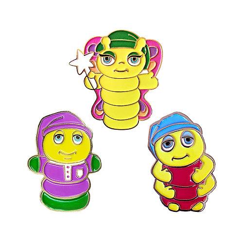 Glo Friends Enamel Pin Set of 3 - Glo Worm, Glo Butterfly, Glo Snugbug