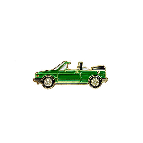 VW Cabriolet Enamel Pin - Green