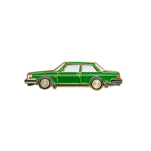 Volvo 240 Sedan Enamel Pin - Green