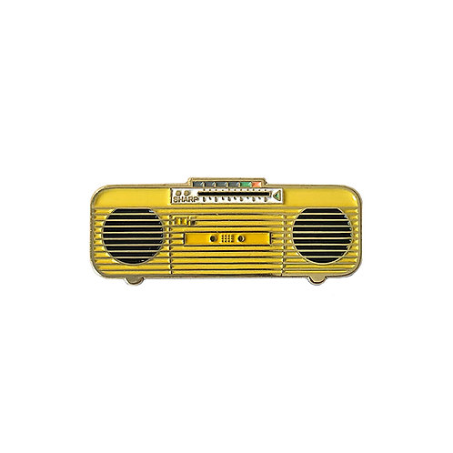 80s Yellow Boombox Enamel Pin