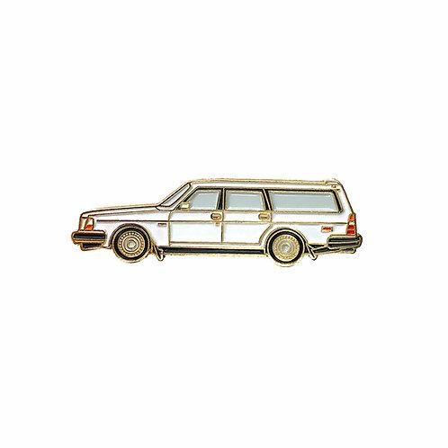 Volvo 240 Wagon Enamel Pin - White
