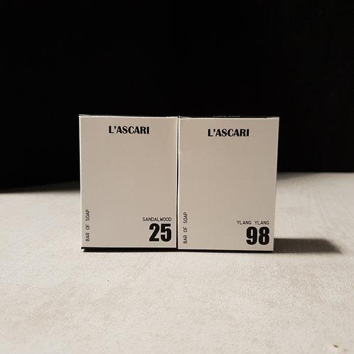 bar of soap x2. no.25 sandalwood. no.98 ylang ylang