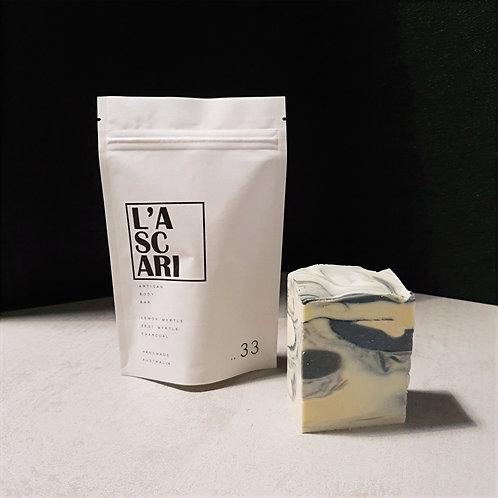 artisan body bar 33. lemon myrtle. zest myrtle. charcoal