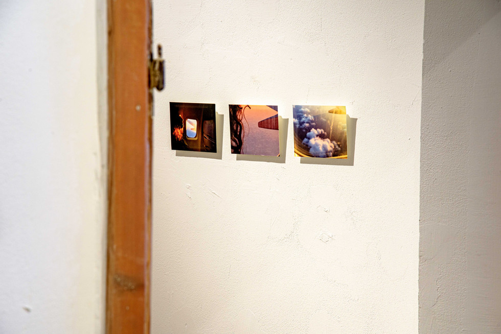 """Wandering between Light and Time, view of the installation """"Travelling Windows"""", three photographs, pigment archive cotton paper paper"""
