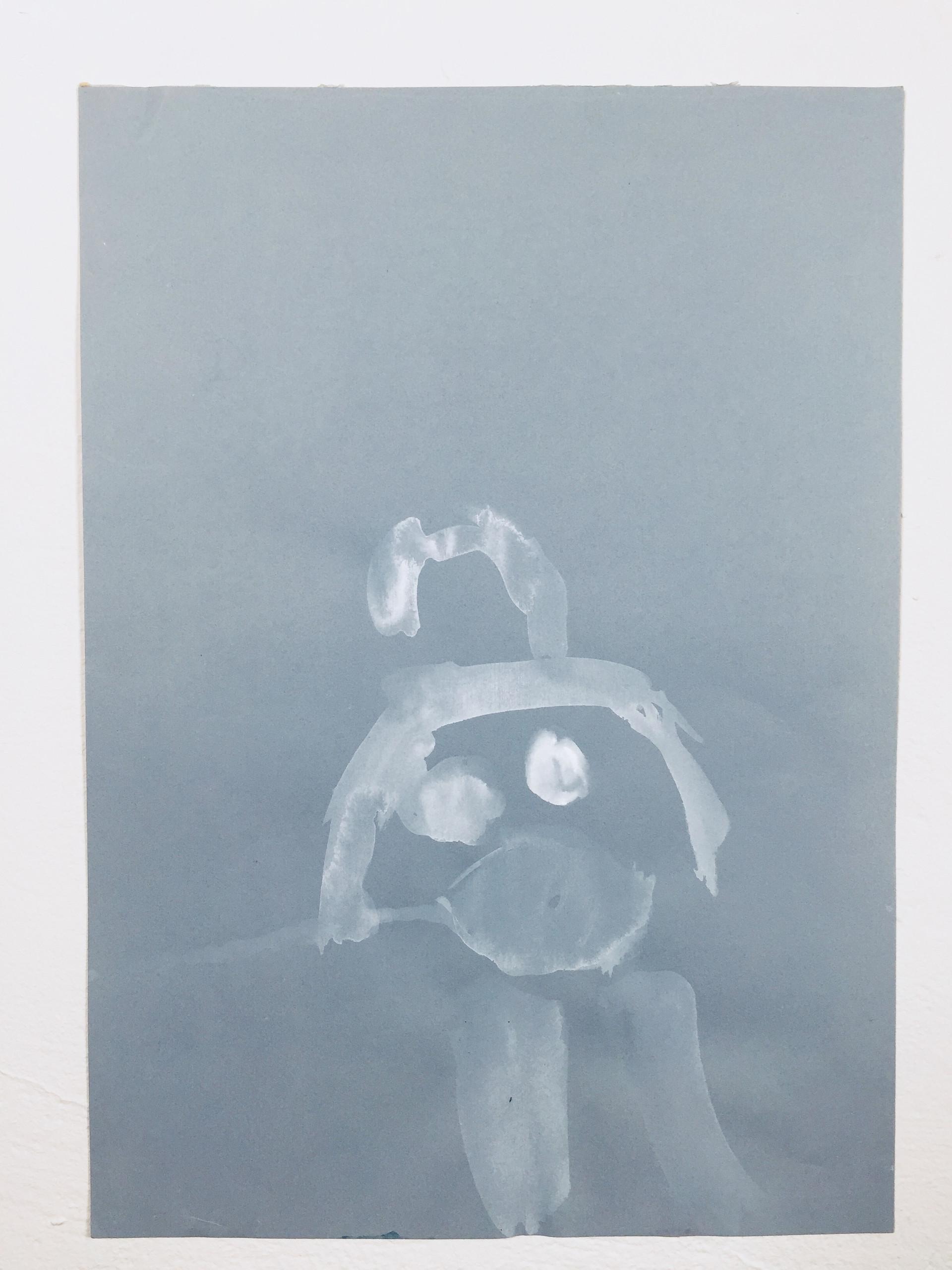 Naked Soul-Self Portrait, acrylic on paper, 1997
