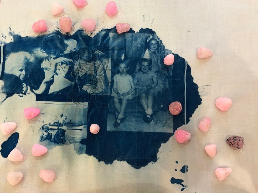 Birthday Party, cianotype by Lucy Elkivity, Pink Strawberries, wax, pigment and gold leaf by Alejandra Okret