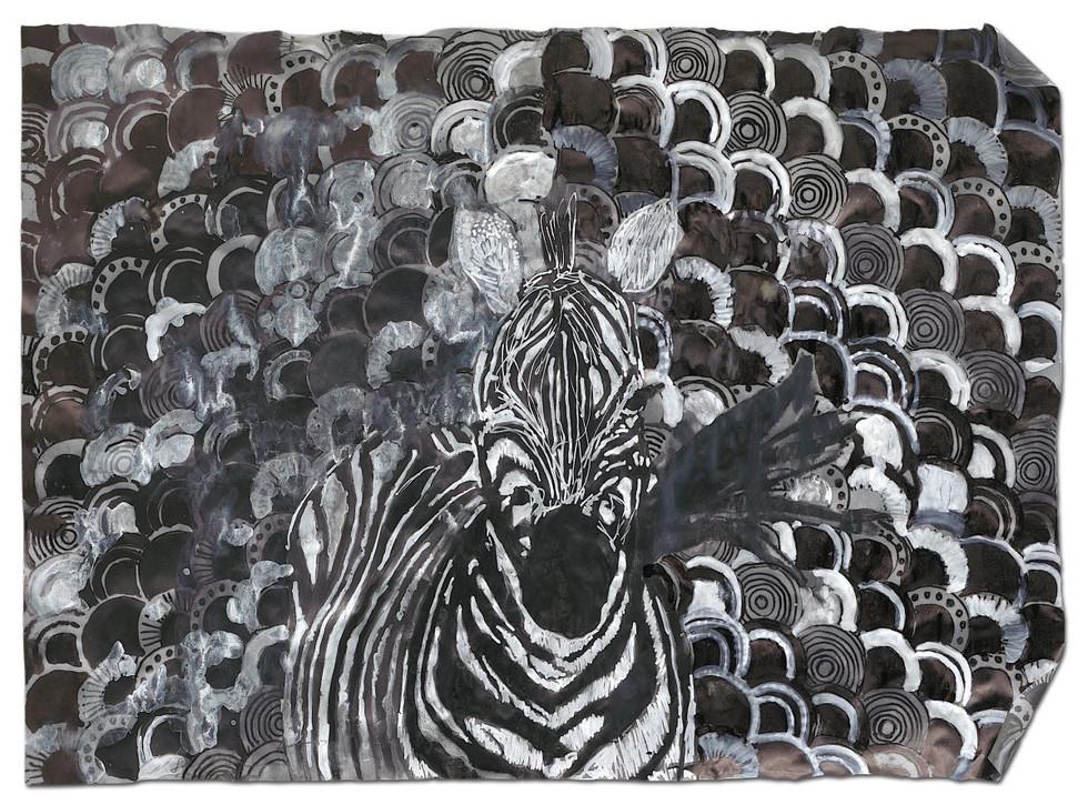 Zebra I, ink on tracing paper, 2014