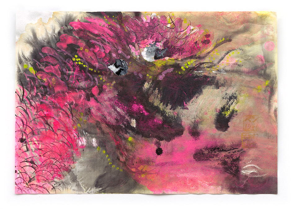 Misty Dragon, ink, acrylic and pigment on paper