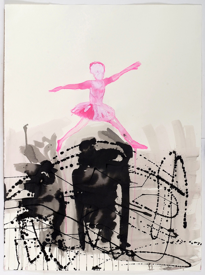 Dance Construction, Jump over it, acrylic and ink on paper,