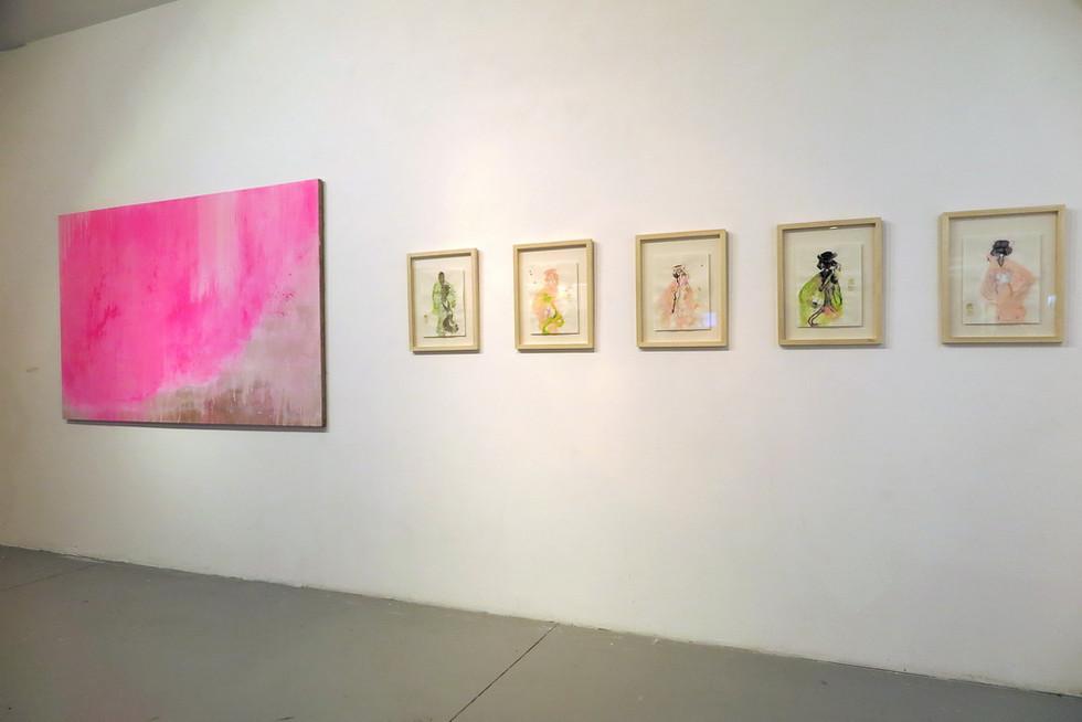 Open Silk Kimono, oil and pigment  on linen, 2016 & Geisha series, watercolour, pigment & ink on paper, 2016