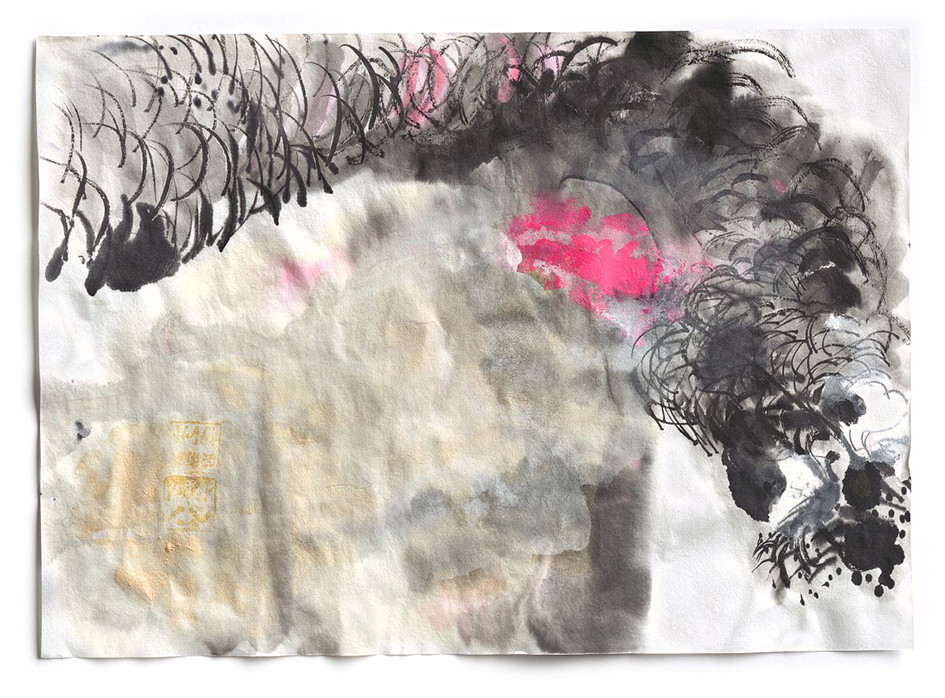 Dragon- Boo, ink, acrylic and pigment on paper, 2015