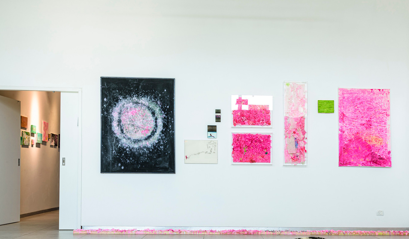The Pink Line, artist wall view