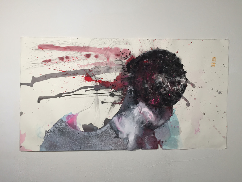 Pelotazo, stamp, ink, acrylic, pigment and pencil on paper, 2014