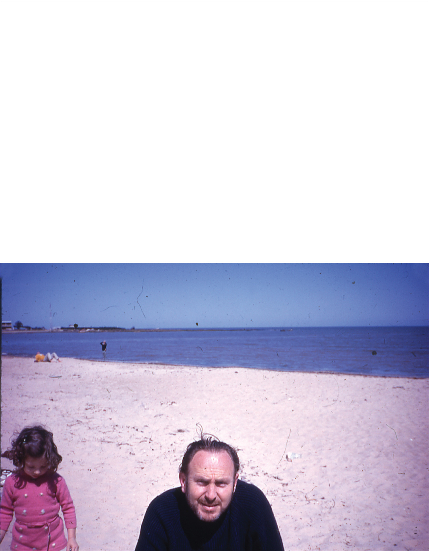 Yo frutillita, My father Enrique Okret and me at Pocitos Beach, 1970, photograph by Federico Wolf,  page 8/9 Artist Book, Frutillas, Fragole, Strawberries