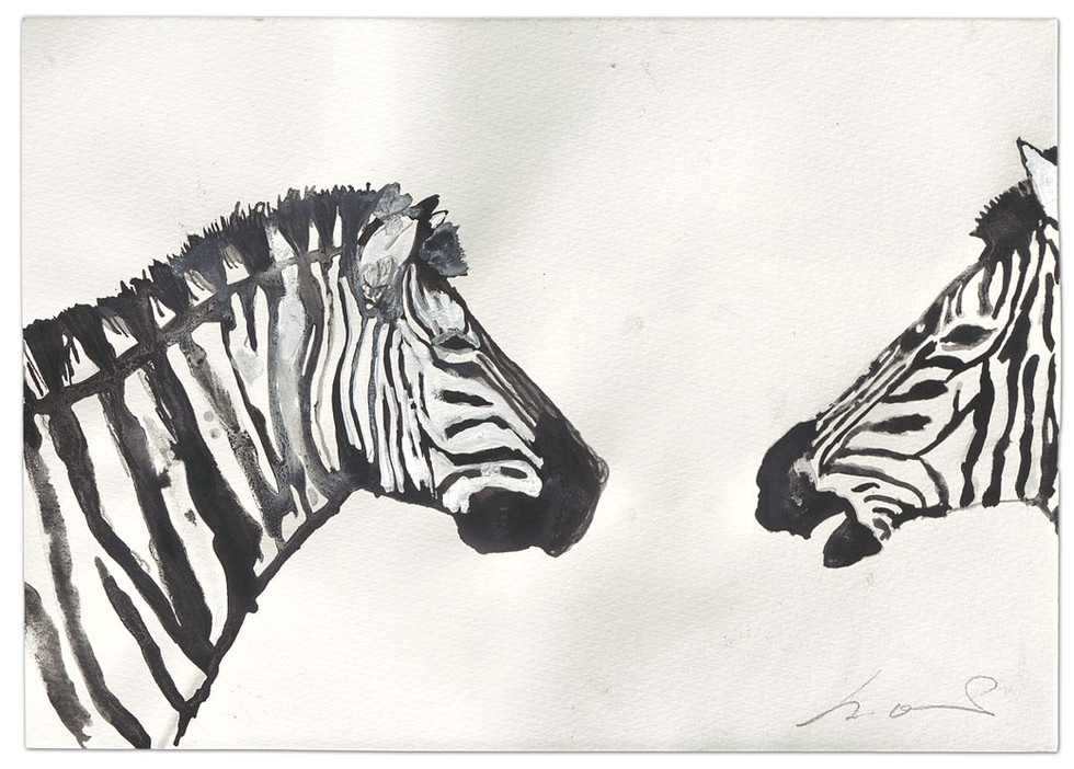 Zebra-Levinas, ink and acrylic on paper, 2014