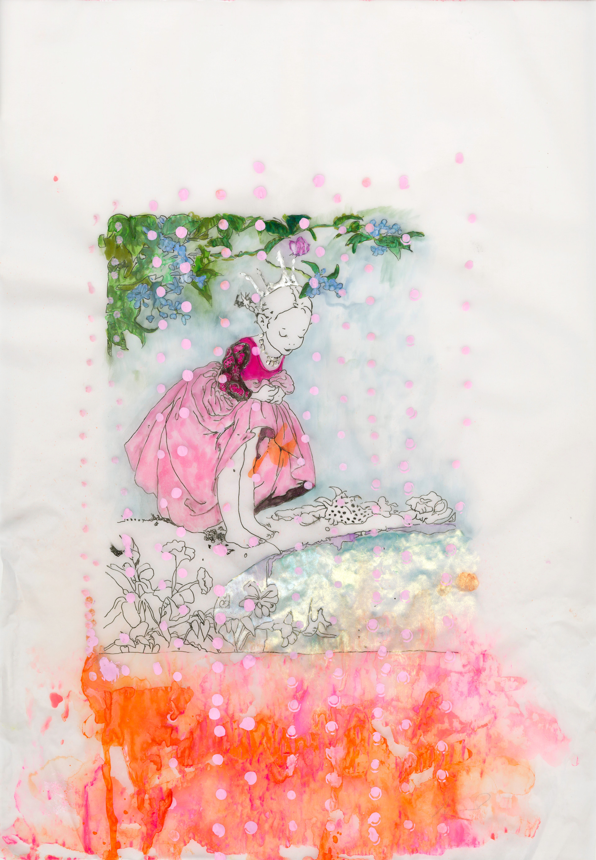 The Princess & Artemito, ink, acrylic, watercolours, and pigment on tacing paper