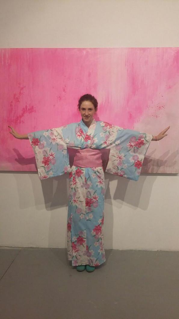 Open Silk Kimono, Green Celadon exhibition opening night