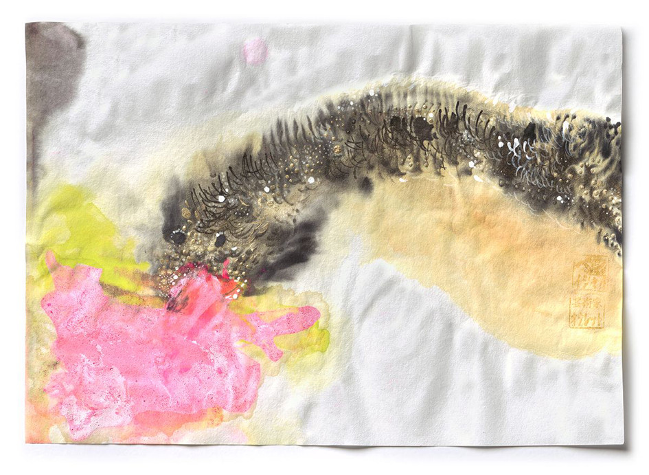 Dragon-Pink Fire, ink, pingment and acrylic on paper, 2015