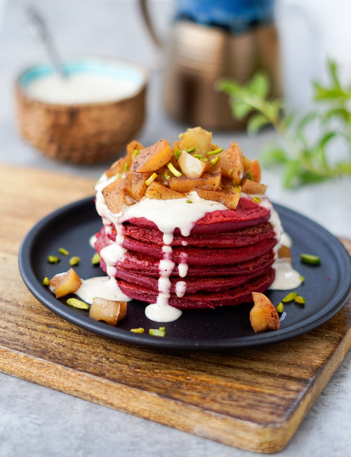 Red Velvet Pancakes with Cashew Cream Sauce and Warm Apple Compote