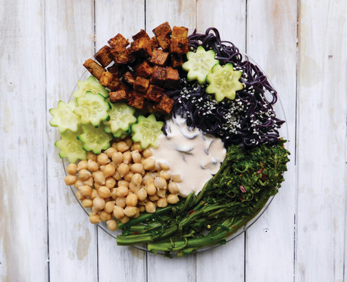 Black Noodle Bowl with Soy Maple Tofu and Homemade Cashew Dressing