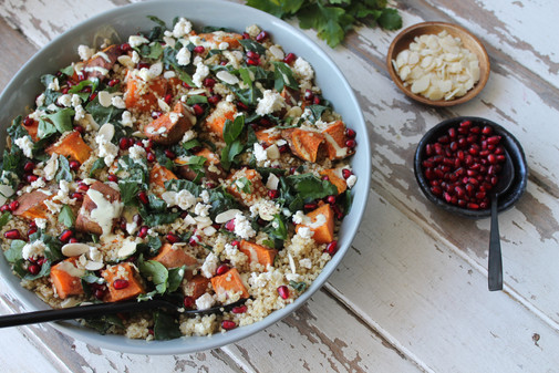 Nourish Bowl with Spiced Cauliflower Fritters