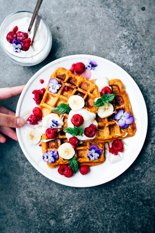 Sweet Potato Waffles with Cashew Cream