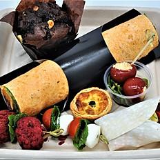 Box F - Tortilla Wraps, 5 x Savoury Choices & Cakes