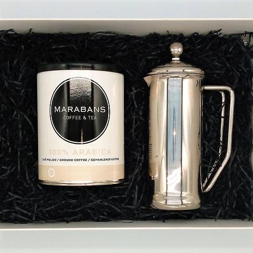 Marabans Gift Box - 100% Arabica  Ground Coffee & Cafetiere