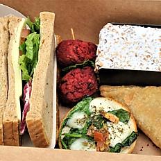 Box D - Sandwich, 3 x Savoury Choices & Cakes