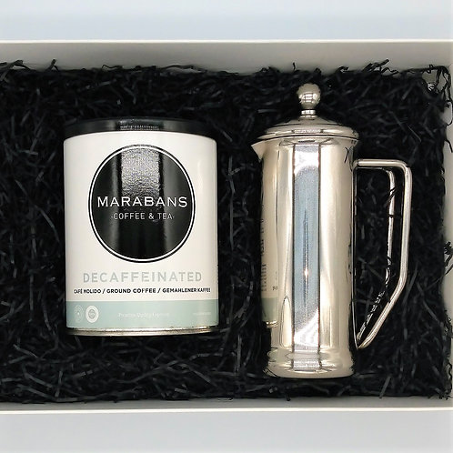 Marabans Gift Box - Decaffeinated 100% Arabica  Ground Coffee & Cafetiere