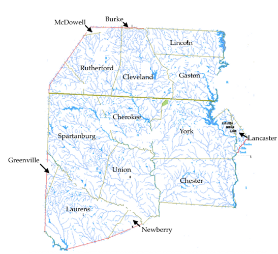 Original boundaries of Tryon County, NC, showing modern cities and counties