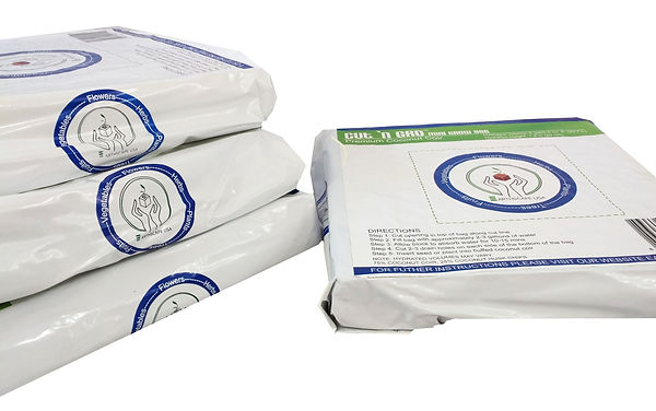 compressed coconut coir and husk chip grow bags