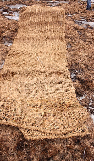 geo-textiles on top of coconut fiber