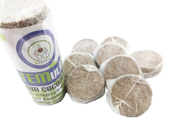 coconut coir seedling start mini disks in package and next to package