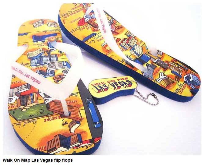 Walk on map flip flops