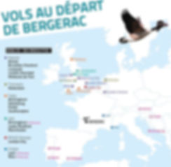 Bergerac airport routes airlines flights UK France Netherlands