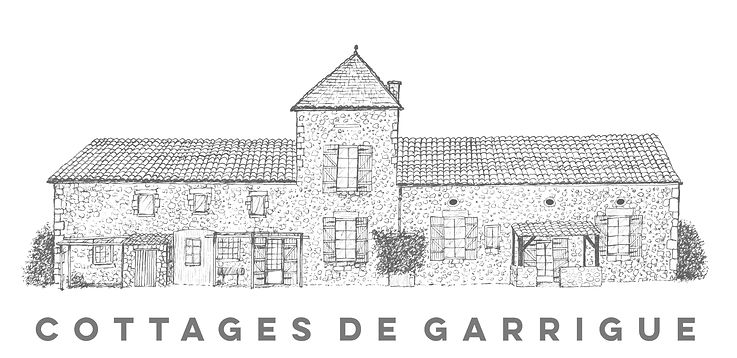 Cottages de Garrigue holiday cottage sketch by Mark Chambers