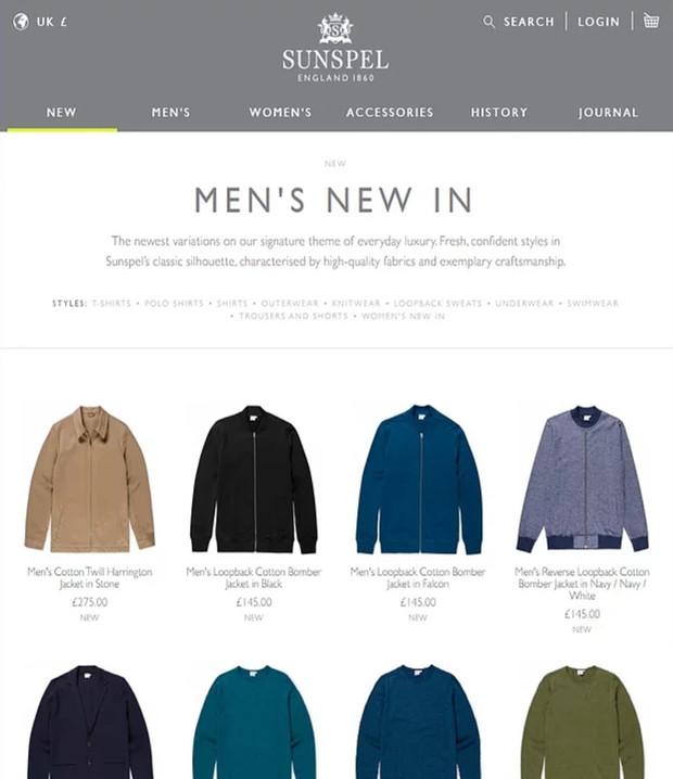 Sunspel menswear retail