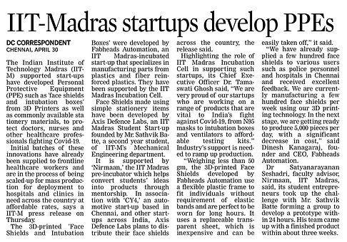 Deccan Chronicle - ITT-Madras startups d