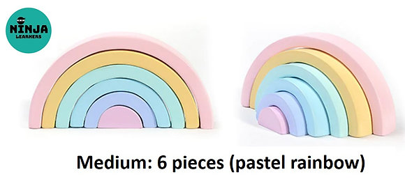 6 Pieces Rainbow Wooden Stacker (Pastel Rainbow)