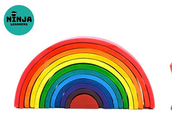 12 Pieces Rainbow Wooden Stacker (Bright Rainbow)