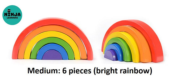 6 Pieces Rainbow Wooden Stacker (Bright Rainbow)