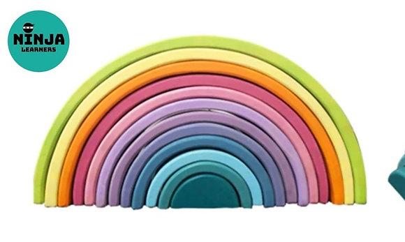 12 Pieces Rainbow Wooden Stacker (Pastel Rainbow)